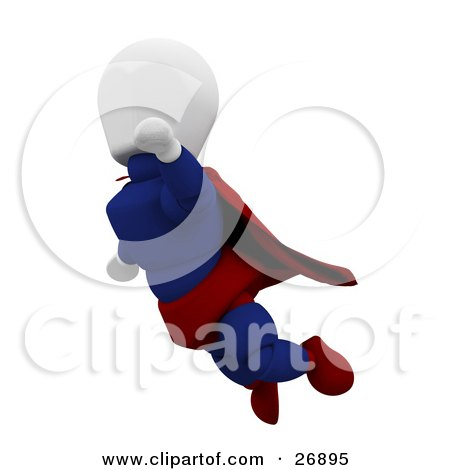 Clipart Illustration of a White Character Super Hero In A Cape And Suit, Flying Through The Sky by KJ Pargeter
