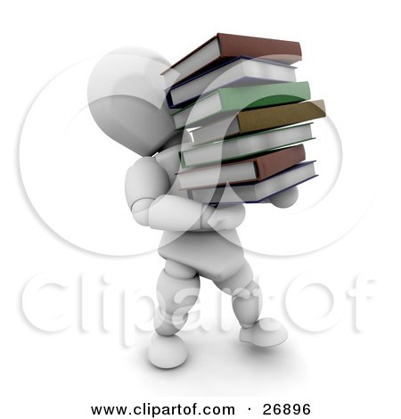 Clipart Illustration of a White Character Carrying A Heavy Stack Of School Or Library Books by KJ Pargeter