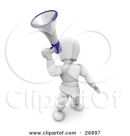 Clipart Illustration of a White Character Leaning Back And Hollering Through A Silver And Blue Megaphone by KJ Pargeter