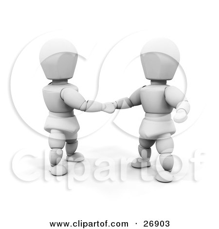 Clipart Illustration of Two White Characters In Shaking Hands On A Business Deal by KJ Pargeter