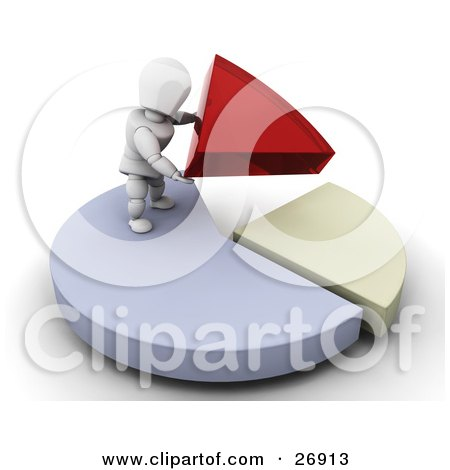 Clipart Illustration of a White Character Standing On Top Of A Blue Pie Chart, Fitting Red And Yellow Pieces Together by KJ Pargeter