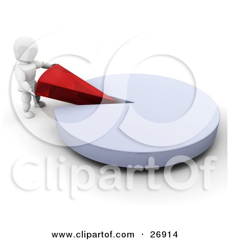 Clipart Illustration of a White Character Inserting A Red Piece Of A Pie Chart Into The Remaining Blue Part by KJ Pargeter
