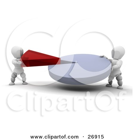 Clipart Illustration of Two White Characters Connecting A Red Piece Of A Pie Chart Into The Main Piece by KJ Pargeter