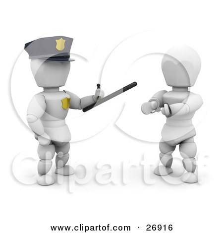 Clipart Illustration of a White Character Police Officer Holding A Monadnock Control Baton And Standing By A Handcuffed Criminal by KJ Pargeter