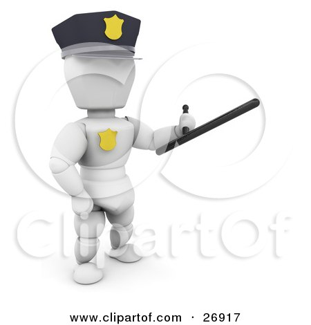 White Character Police Officer Holding A Baton Weapon Posters, Art Prints