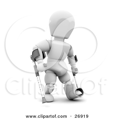 Clipart Illustration of a Disabled White Character With One Foot In A Cast, Using Two Crutches by KJ Pargeter