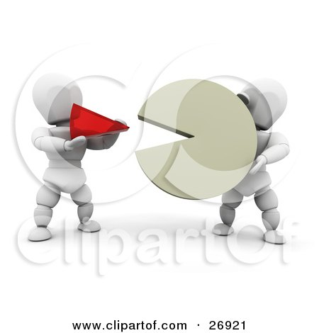 Clipart Illustration of a White Character Holding A Large Percentage Of A Pie Chart While Another Person Holds A Small Red Piece by KJ Pargeter