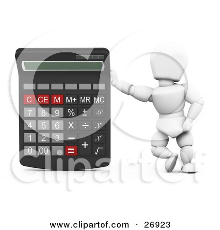 Clipart Illustration of a White Character Leaning Against A Giant Calculator by KJ Pargeter