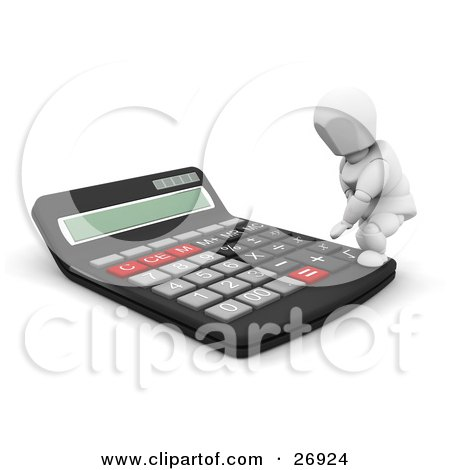 Clipart Illustration of a White Character Stepping On A Giant Calculator To Push A Button by KJ Pargeter