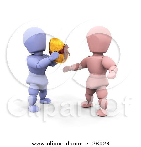 Clipart Illustration of a Thoughtful Blue Character Giving A Golden Easter Egg To A Pink Character by KJ Pargeter