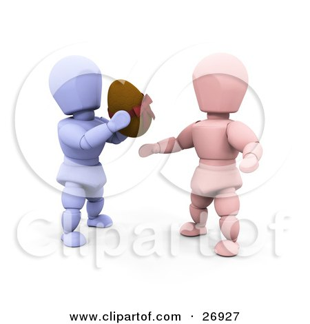 Clipart Illustration of a Thoughtful Blue Character Giving A Chocolate Easter Egg To A Pink Character by KJ Pargeter