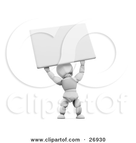 Clipart Illustration of a White Character Holding A Blank White Sign Above His Head by KJ Pargeter