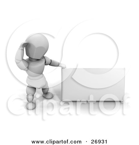 Clipart Illustration of a White Character Standing With A Small Blank White Sign by KJ Pargeter