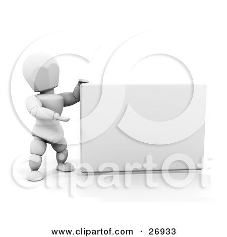Clipart Illustration of a White Character Holding Up A Blank White Sign And Presenting It by KJ Pargeter