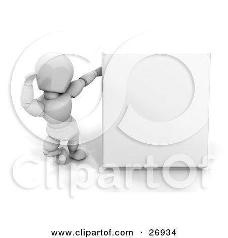 Clipart Illustration of a White Character Standing By A Blank White Sign And Waving by KJ Pargeter