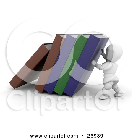 Clipart Illustration of a White Character Holding Up Library Or School Books by KJ Pargeter