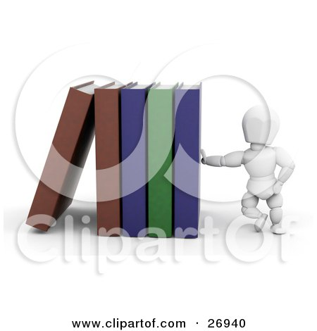 White Character Leaning Against A Row Of Library Books Posters, Art Prints