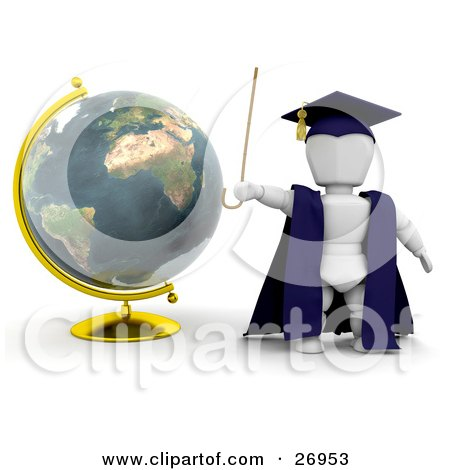 Clipart Illustration of a White Character Teacher In A Cap And Gown, Waving A Cane And Standing By A Globe by KJ Pargeter