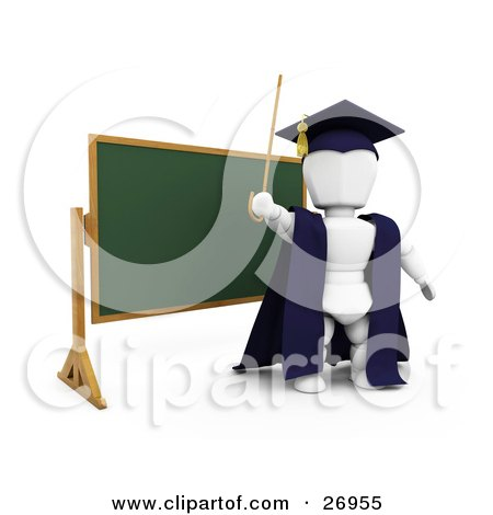 Clipart Illustration of a White Character Teacher In A Cap And Gown, Waving A Cane And Standing In Front Of A Chalk Board by KJ Pargeter