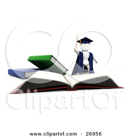 Clipart Illustration of a White Character Teacher In A Cap And Gown, Waving A Cane And Standing On Top Of An Open School Book by KJ Pargeter