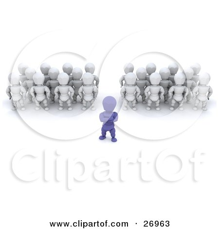Clipart Illustration of a Blue Character Leader Standing In Front Of Groups Of White Characters by KJ Pargeter