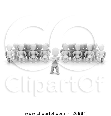 Clipart Illustration of Two Groups Of White Characters Standing Behind Their Leader by KJ Pargeter