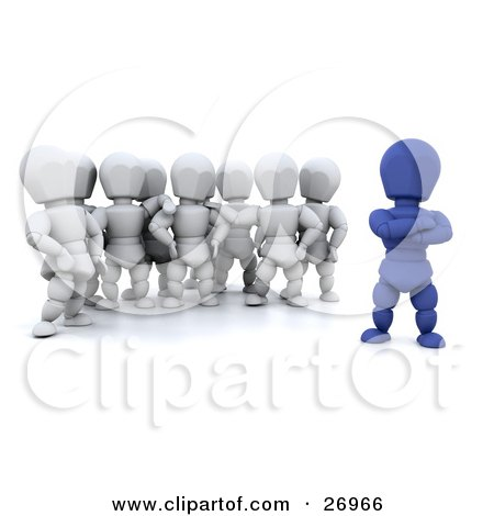 Clipart Illustration of a Group Of White Characters Standing Behind Their Blue Team Leader by KJ Pargeter