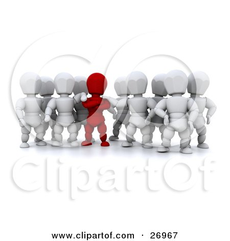 Clipart Illustration of a Group Of White Characters Supporting Their Red Team Leader by KJ Pargeter