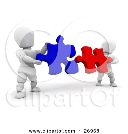 Two White Characters Fitting Red And Blue Jigsaw Puzzle Pieces Together Posters, Art Prints