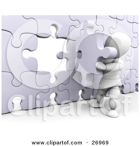 Clipart Illustration of a White Character Inserting The Final Jigsaw Puzzle Piece Into A Wall by KJ Pargeter