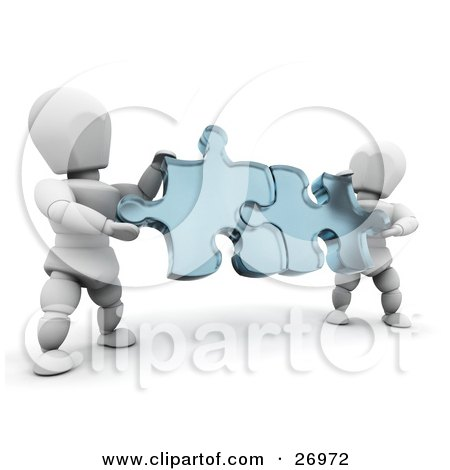 Two White Characters Holding Blue Jigsaw Puzzle Pieces And Fitting Them Together Posters, Art Prints