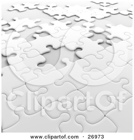 Incomplete White Jigsaw Puzzle With Scattered Spaces Of Missing Pieces Posters, Art Prints