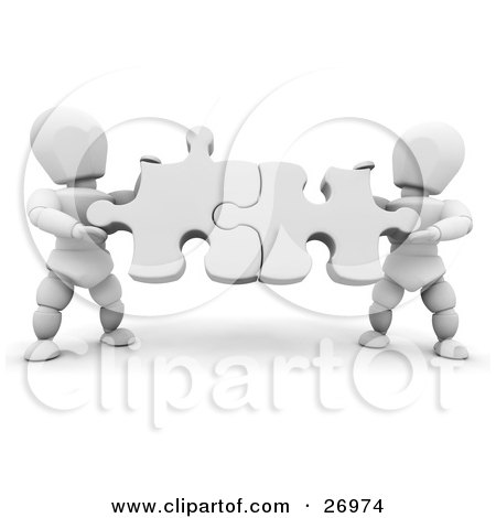 Clipart Illustration of Two White Characters Holding White Jigsaw Puzzle Pieces And Fitting Them Together by KJ Pargeter