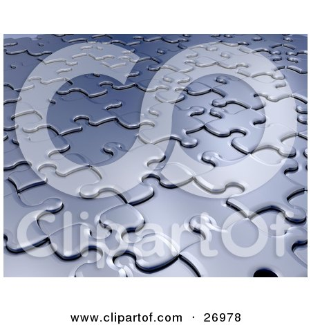Clipart Illustration of a Background Of Raised And Lowered Silver Jigsaw Puzzle Pieces by KJ Pargeter