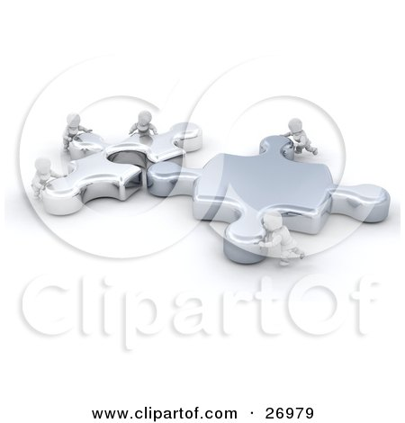 Clipart Illustration of Tiny White Characters Helping Each Other Fit Two Giant Jigsaw Puzzle Pieces Together by KJ Pargeter