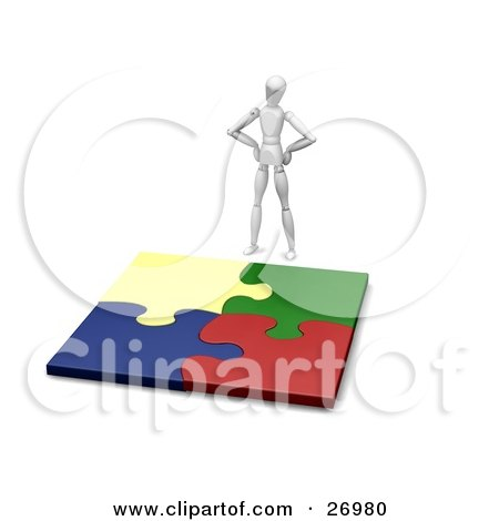 Clipart Illustration of a White Figure Character Standing Above A Completed Jigsaw Puzzle Of Colorful Pieces by KJ Pargeter
