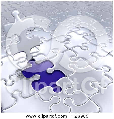 Clipart Illustration of a Silver Jigsaw Puzzle Piece Standing Up Over A Blue Space by KJ Pargeter