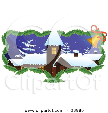 Clipart Illustration of a Brown Church Or Building With Snow On The Roof Tops And Snow Flocked Trees On A Wintry Night, With A Border Of Holly Leaves And Jingle Bells by Paulo Resende