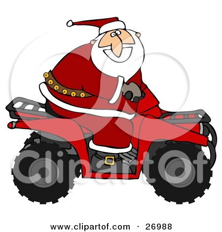 Clipart Illustration of Santa Claus In His Red Suit, Riding A Red Atv In The Snow by djart
