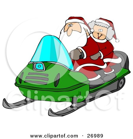 Clipart Illustration of Santa Claus And Mrs Claus Riding A Green Snowmobile Through The Snow At The North Pole by djart