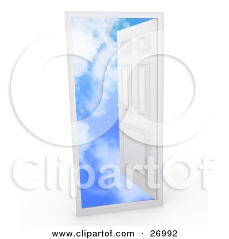 Clipart Illustration of a White Door In A Frame, Opening To A Blue Sky With Puffy White Clouds, Symbolizing Heaven, Death And The Unknown by Leo Blanchette