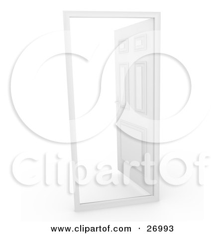Clipart Illustration of a White Door In A Frame, Opening To White, Symbolizing The Unknown by Leo Blanchette