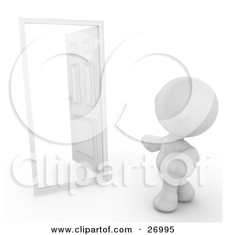 Clipart Illustration of a White Meta Man Standing In Front Of An Open Door With White Of The Unknown On The Other Side by Leo Blanchette
