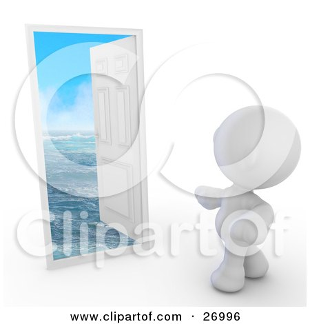 Clipart Illustration Of A White Door In Frame Opening To