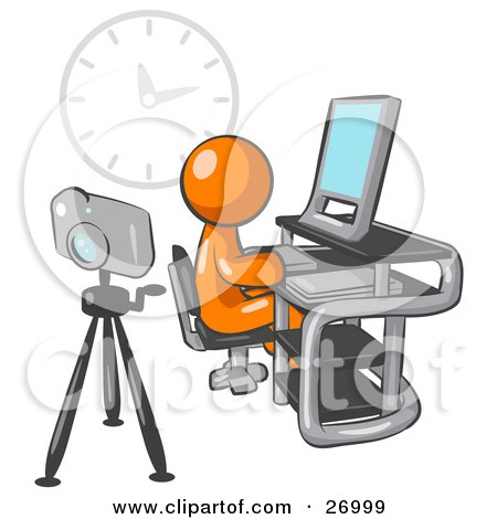 Clipart Illustration of an Orange Man Using A Desktop Computer With A Camera On A Tripod Behind Him And A Big Clock On The Wall In The Background by Leo Blanchette