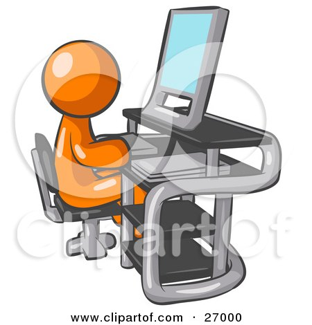 Clipart Illustration of an Orange Man Sitting At A Desk In Front Of A Computer With A Scanner At His Side by Leo Blanchette