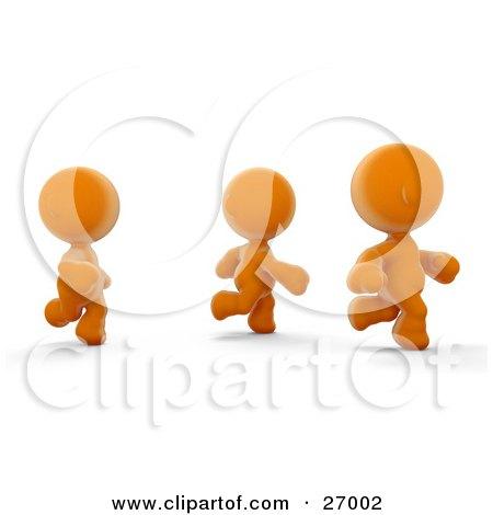 Clipart Illustration of Three Orange Meta Men Racing Or Running A Marathon by Leo Blanchette