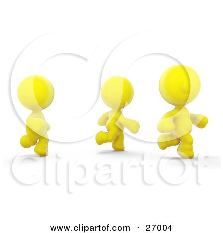 Clipart Illustration of Three Yellow Meta Men Racing Or Running A Marathon by Leo Blanchette