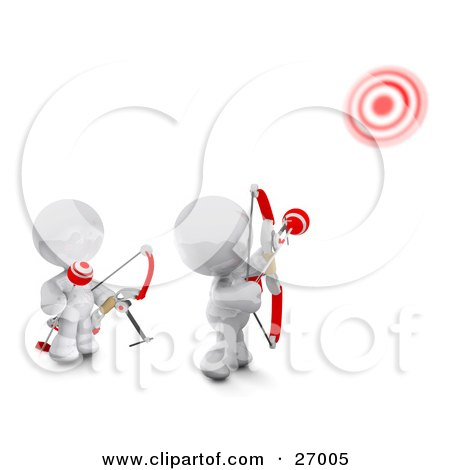 Clipart Illustration of Two White Meta Men Shooting Arrows At Targets With Bows by Leo Blanchette