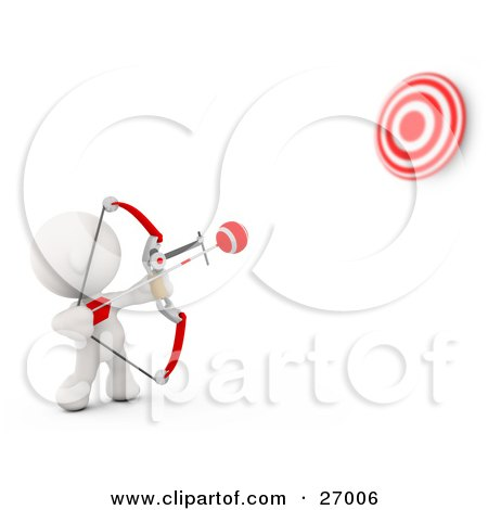 Clipart Illustration of a White Meta Man Shooting Arrows At A Target With A Bow by Leo Blanchette